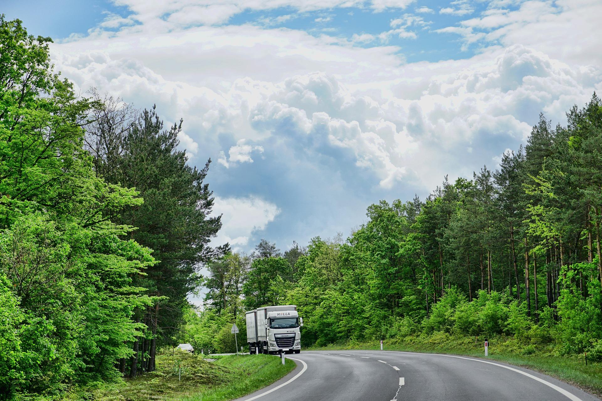 Samochód ciężarowy na drodze